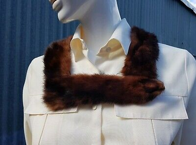 Vintage Real Fur Collar D Shaped Red Mink