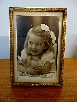 Very Sweet Little 1950s Girl with Big Hair Bow and Baby Bracelet Adorable