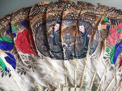 Vintage Old Feather Hand Painted Oriental China? Hand Fan Damaged 10 Inches