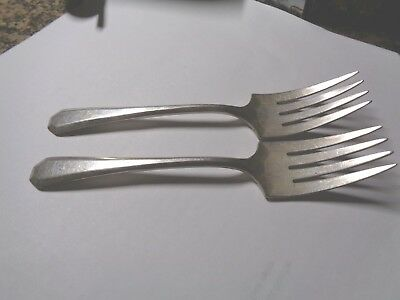"2  WM Rogers & Son AA Silverplate ""Lincoln"" Pattern SALAD Forks Aug 21 1917"