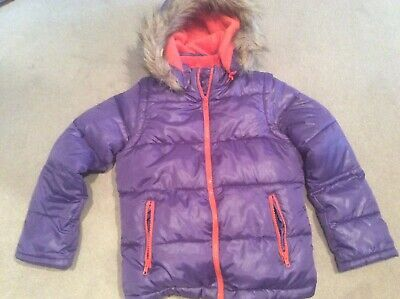 Mini Boden girls age 9 - 10 quilted jacket gilet purple removable sleeves hood