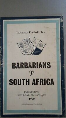 Barbarians v South Africa 1970  Rugby Union Match Programme