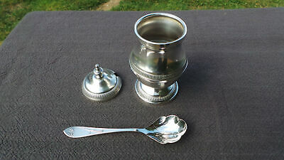 French Jam Pot with Plated Spoon Superb Mustard Vintage Silver Plate Body