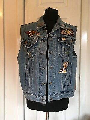 Ladies Harley-Davidson Denim Vest With Patches And Pins Size XL