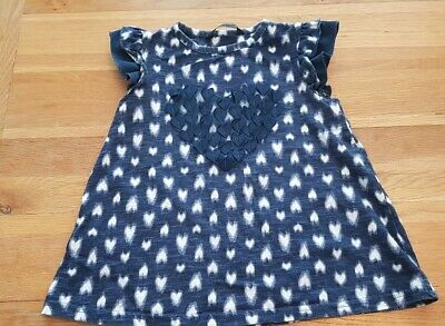 girls navy blue and white heart tshirt age 2-3 top from george