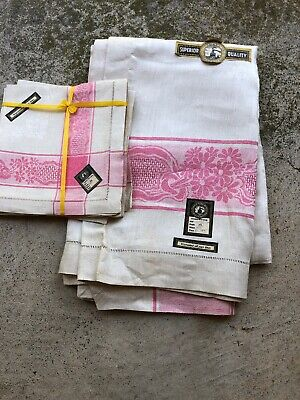 Overseas Trade Mark Linen Tablecloth And 6 Napkins Pink Trim - New With Tags