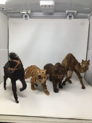 Vintage Lot Of 4 Hand Crafted Real Fur Animal Figures