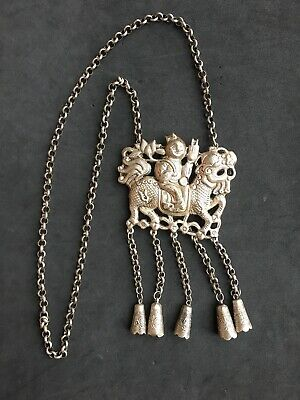 Antique Or Vintage Large Chinese Silver Dragon Kylin Rider Pendant Necklace