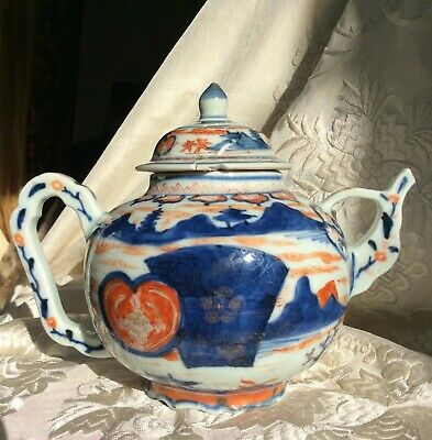 Chinese Antique Porcelain Teapot 18th C Kangxi Imari Petal Foot Rim