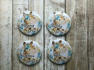 Baby Shower Buttons~PINS~MOM DAD Grandma//Grandpa//Aunt//Uncle 6pc Set~SHIPS FAST!