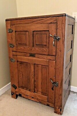 Gibson's Marbolite ANTIQUE Oak Ice Box  APPROX 1915