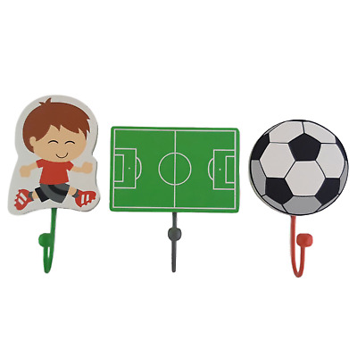 NEW Kids Childrens Bedroom FOOTBALL COAT HOOKS Childrens Wall Decoration