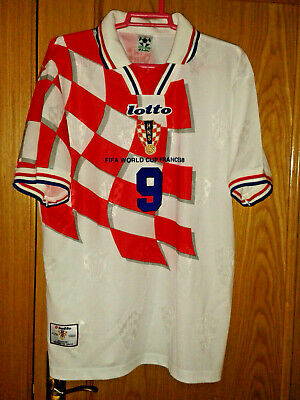 Croatia Wc 98 Lotto Home Player Shirt #9 Suker +Excellent/Mint+ -L- Large Rare