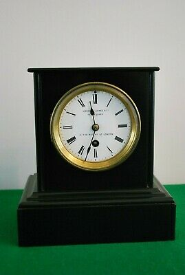 Antique Victorian Single Train Black Slate Mantle Clock