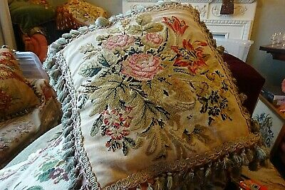 Victorian needlework cushion / pillow in beautiful condition