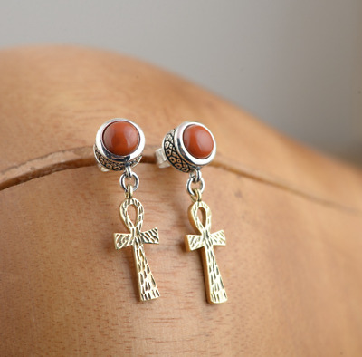 C11 Earring Plug Red Agate Ankh cross Egypt Sterling Silver 925