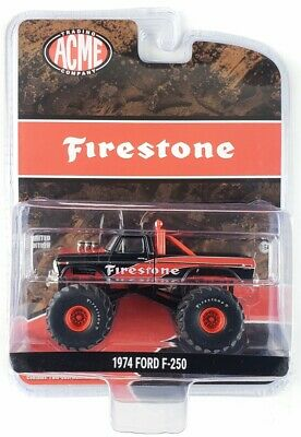 "Chase 1974 FORD F-250 MONSTER TRUCK ""FIRESTONE"" 1/64 GREENLIGHT FOR ACME 51272"
