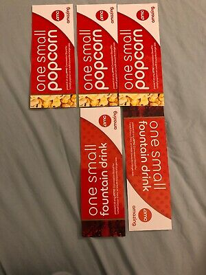 AMC Theater Snack Tickets: 3 Small Popcorn Vouchers, 2 Small Drink Vouchers