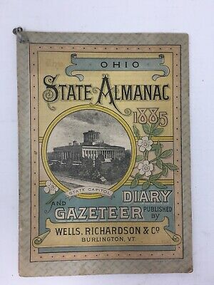 1885 Ohio State Almanac Diary Gazeteer Advertising Malcom Patrick Drugs Medicine
