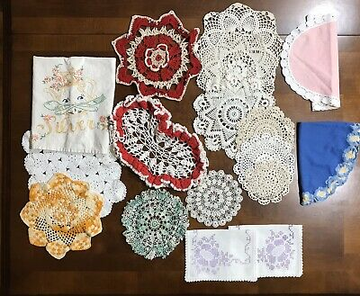 Lot of 10 Vintage Hand Embroidered/Crocheted Dresser Scarves/Doilies/Dish Towel