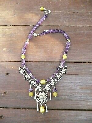 Vintage Handmade  Amethyst, Pearl  And Jade  Old Silver Necklace
