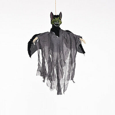 Halloween Horror Hanging Bat Ghost Decor Eyes Flashing Voice Control Props gm