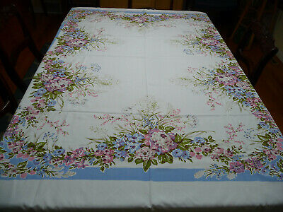 Vintage 40-50s Large White Cotton Print Tablecloth w/ Detailed Pink Blue Floral