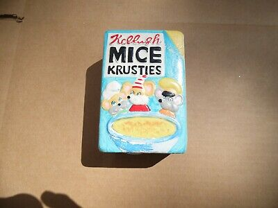 """Vintage 5"""" Mice Krusties Ceramic Coin Piggy Bank Hand Painted Hand Made (A001)"""