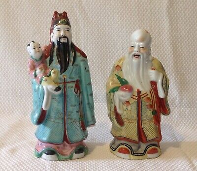 Vintage Chinese Porcelain Gods Of Luck Figurines