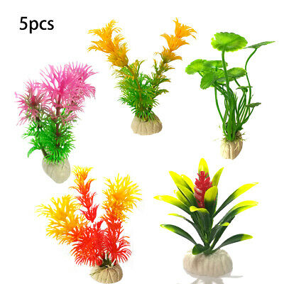 5x Artificiel Aquarium Les plantes Aquarium Aquatique Décor Herbe Ornement Fleur