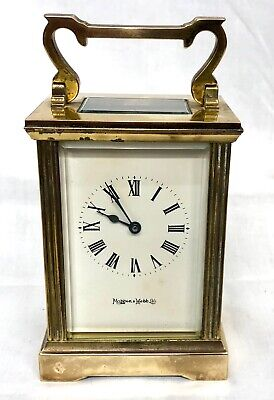 MAPPIN & WEBB Brass Carriage Mantel Clock Timepiece with Key TICKING AWAY
