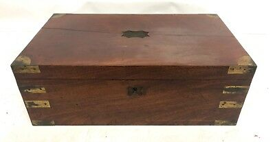 Antique Victorian Mahogany & Brass Campaign Writing Box Slope with DRAWER