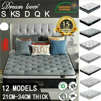 DREAM LOVER Mattress Queen Double King Single Bed Firm Memory Foam Pocket Spring