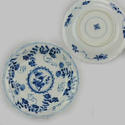 Antique Kangxi Blue and White Dish with flower scene Moulded Marked