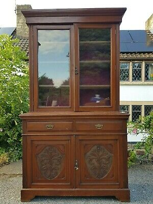 Large Impressive Carved Antique Victorian Bookcase with Cupboard Needs Some TLC