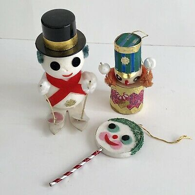 Vintage Lot Flocked Snowmen Christmas Ornaments Skis Drummer Chenille Japan A8