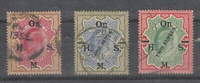 India KEVII 1902 OHMS O/P High Values x 3 Fine Used J6843