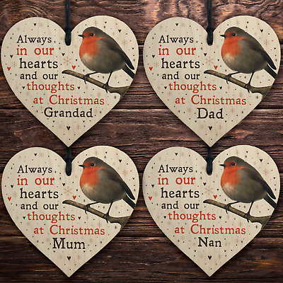 Robin Christmas Tree Hanging Plaque Decoration Memorial Bauble Mum Dad Nan Gran