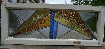 Frame 830 x 451mm leaded light stained glass window sash ABOVE DOOR SIZE. R970b