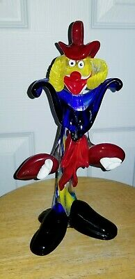 "Vintage MURANO Art Glass CLOWN Figurine 11"" Tall Large multicolored"