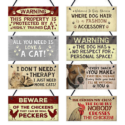 Novelty Animal Pet Plaques Signs DOG CAT CHICKEN Sign Animal Lover Gifts Funny