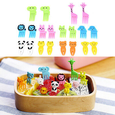 10pcs Animal Farm cartoon fruit fork signs resin fruits toothpick for Kids VG