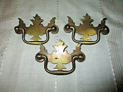 "3 Antique Vintage Victorian Solid Brass Drop Handle Drawer Pulls 3"" Long"