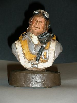 "Michael Garman ""Fighter Pilot Bust"" Handpainted Collectors Item 1985 signed"