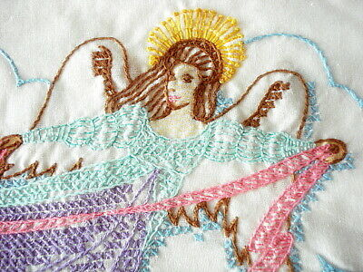 "Vintage PILLOWCASES~Flying ANGEL Embroidered on White~Pair @ 19"" x 32""each"