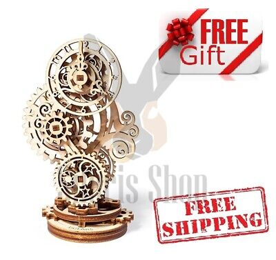 NEW UGEARS Mechanical 3D Puzzle Wooden STEAMPUNK CLOCK Model for self-assembly