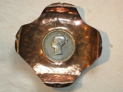 Antique Arts and Crafts Copper Dish Queen Victoria Coronation Medal TW Ingram