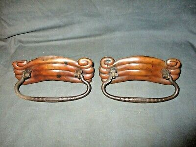 """2 Antique Victorian Stamped Brass w/Iron Drop Handle Drawer Pulls 4 3/4"""" Long"""