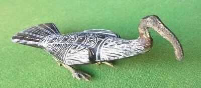 Ancient Egyptian Style Stone Carving Of A Ibis With Metal Legs