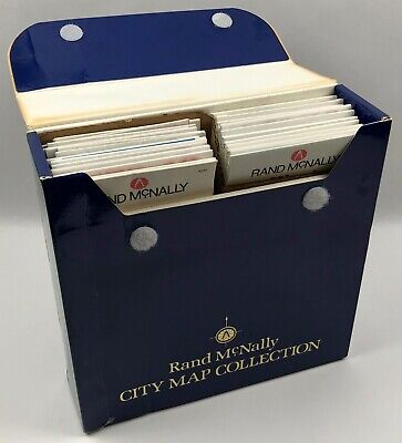 Rand McNally USA City Map Collection Box Set Lot of 34 Road Maps w Case CLEAN